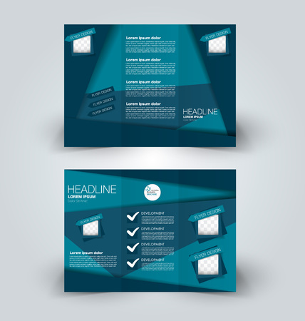 Brochure mock up design template for business, education, advertisement. Trifold booklet editable printable vector illustration. Blue color. 일러스트