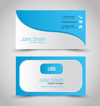 Business card set template. Blue and silver color. Corporate identity vector illustration.