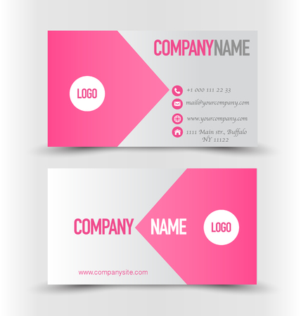 Business card set template. Pink and silver color. Corporate identity vector illustration. Ilustracja