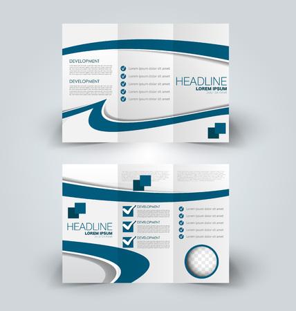 Brochure mock up design template for business, education, advertisement. Trifold booklet editable printable vector illustration. Blue color.  イラスト・ベクター素材