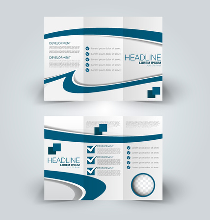 Brochure mock up design template for business, education, advertisement. Trifold booklet editable printable vector illustration. Blue color. Stock Illustratie