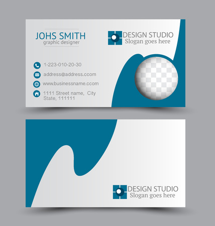 Business card set template for business identity corporate style. Vector illustration. Blue color. Ilustracja