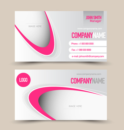 Business card set template. Banner design. Pink color. Corporate identity vector illustration.