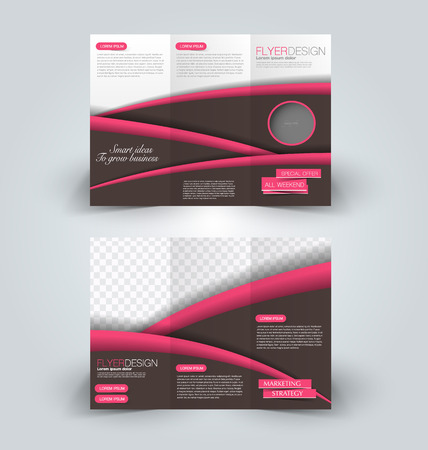 Brochure mock up design template for business, education, advertisement. Trifold booklet editable printable vector illustration. Pink and brown color. Çizim
