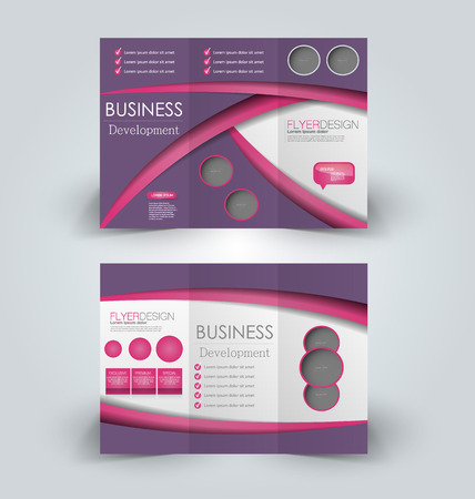 Brochure mock up design template for business, education, advertisement. Trifold booklet editable printable vector illustration. Pink and purple color.