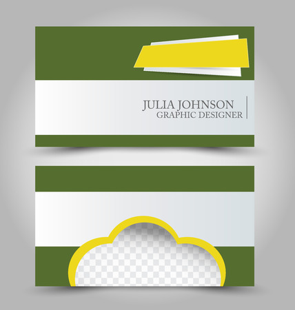 Business card set template. Green and yellow color. Corporate identity vector illustration.