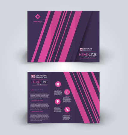 Brochure template. Business trifold flyer.  Creative design trend for professional corporate style. Vector illustration. Pink and purple color.