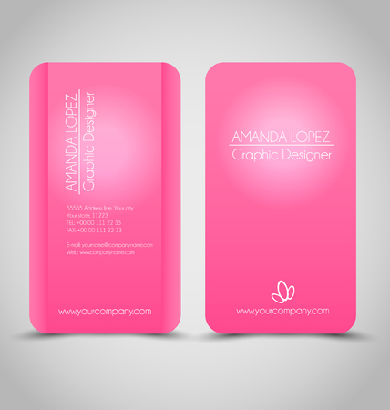 Business card set template. Pink color. Corporate identity vector illustration.