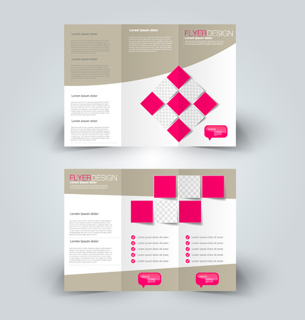 Tri fold brochure design. Creative business flyer template. Editable vector illustration. Brown and pink color.