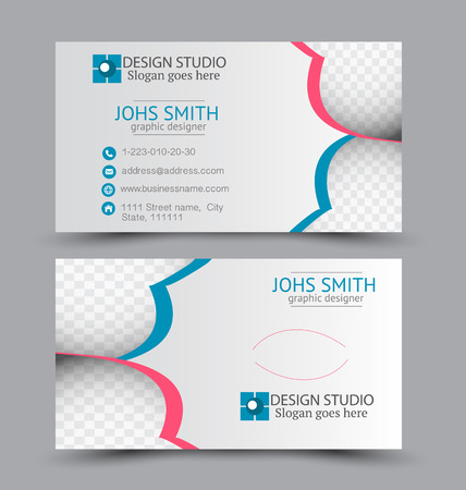 Business card set template for business identity corporate style. Vector illustration. Red and blue color. Ilustracja