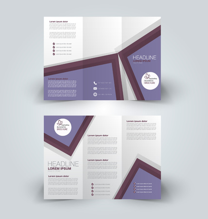 Brochure mock up design template for business, education, advertisement. Trifold booklet editable printable vector illustration. Purple color.