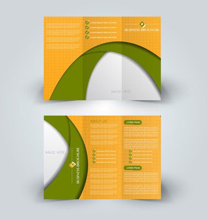Brochure mock-up design template for business, education, advertisement. Trifold booklet editable printable vector illustration in Orange and green color.