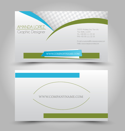 Business card set template in green and blue color.