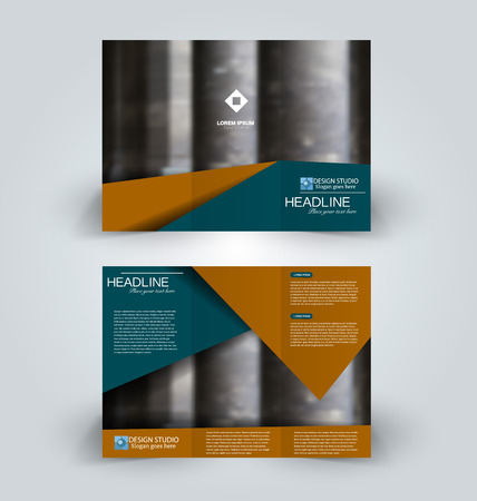 Brochure template. Business trifold flyer.  Creative design trend for professional corporate style. Vector illustration. Green and brown color.