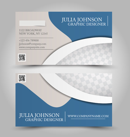 Business card set template. Blue color. Corporate identity vector illustration.