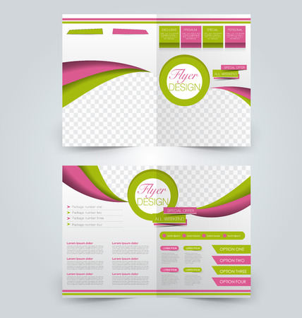 Abstract flyer design background. Brochure template. Can be used for magazine cover, business mockup, education, presentation, report.  Green and pink color. Illustration