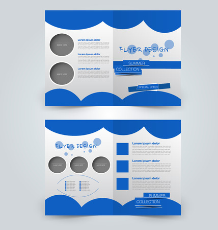 Abstract flyer design background. Brochure template. Can be used for magazine cover, business mockup, education, presentation, report. Blue color. Illustration