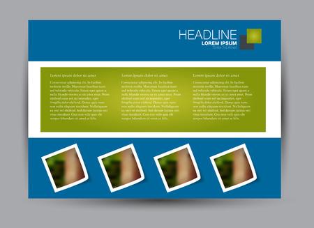 Brochure, billboard-sjabloonontwerp landschapsoriëntatie voor onderwijs, presentatie, website. Blauwe en groene kleur. Bewerkbare vectorillustratie. Stockfoto - 91473597