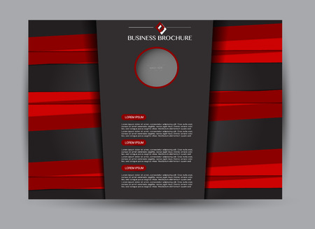 Red and black landscape wide flyer or brochure template. Billboard abstract background design. Business, education, presentation, advertisement concept. Vector illustration. Ilustração