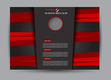 Red and black landscape wide flyer or brochure template. Billboard abstract background design. Business, education, presentation, advertisement concept. Vector illustration. Illustration