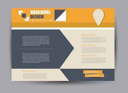 Flyer, brochure, billboard template design landscape orientation for education, presentation, website.  Orange and grey color. Editable vector illustration.