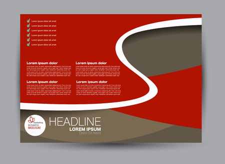 Red and brown landscape wide flyer or brochure template. Billboard abstract background design. Business, education, presentation, advertisement concept. Vector illustration. Иллюстрация