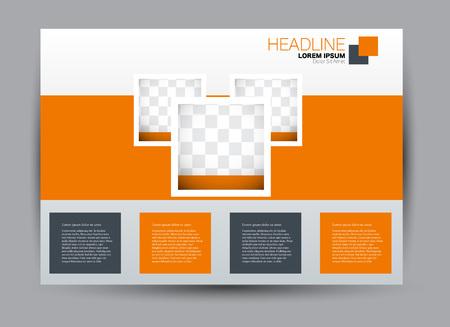 Flyer, brochure, billboard sjabloonontwerp landschapsoriëntatie voor onderwijs, presentatie, website. Oranje kleur. Bewerkbare vectorillustratie. Stockfoto - 91452679