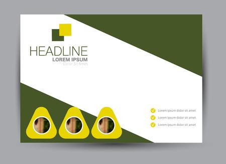 Flyer, brochure, billboard template design landscape orientation for education, presentation, website. Green color. Editable vector illustration. Stock Illustratie