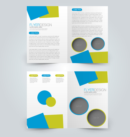 Abstract flyer design background. Brochure template. Can be used for magazine cover, business mockup, education, presentation, report. Green and blue color.