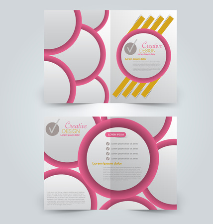 Abstract flyer design background. Brochure template. Can be used for magazine cover, business mockup, education, presentation, report.  Pink and yellow color Illustration
