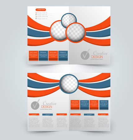 Abstract flyer design background. Brochure template. Can be used for magazine cover, business mockup, education, presentation, report.  Orange and blue color Illustration