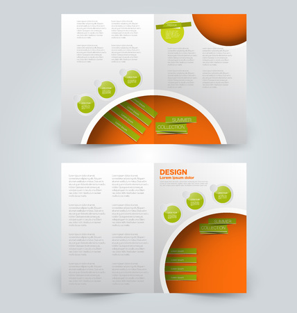 Abstract flyer design background. Brochure template. Can be used for magazine cover, business mockup, education, presentation, report. Orange and green color. Illustration