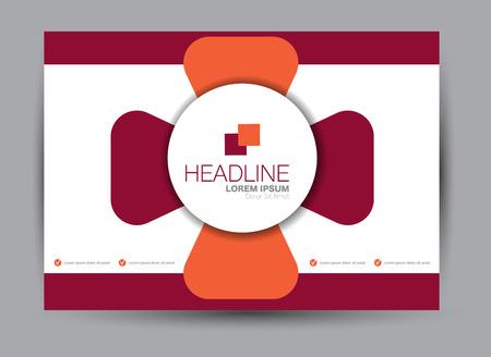 Flyer, brochure, billboard template design landscape orientation for education, presentation, website. Orange and red color. Editable vector illustration. Stock Illustratie