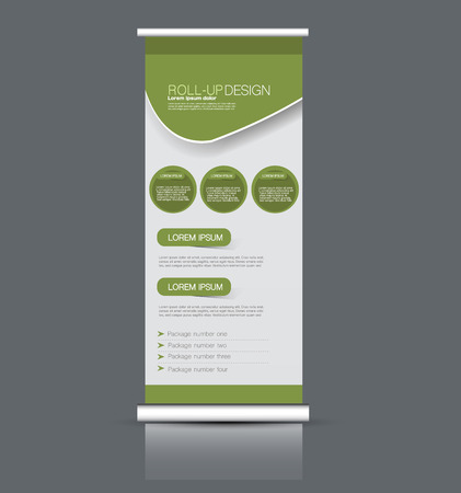 Roll up banner stand template. Abstract background for design,  business, education, advertisement. Vector  illustration. Green color.