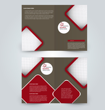 Fold brochure template. Flyer background design. Magazine cover, business report, advertisement pamphlet.  Red and brown color.
