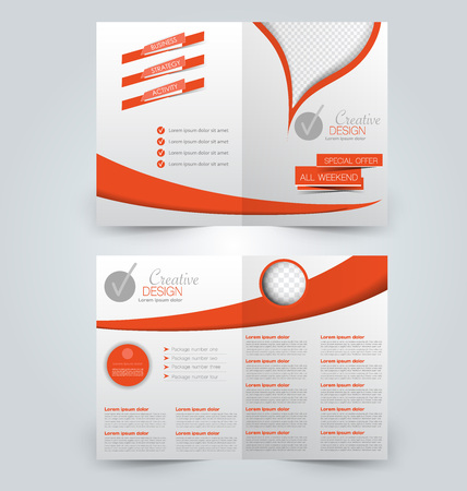 Abstract flyer design background. Brochure template. Can be used for magazine cover, business mockup, education, presentation, report.  Orange color.