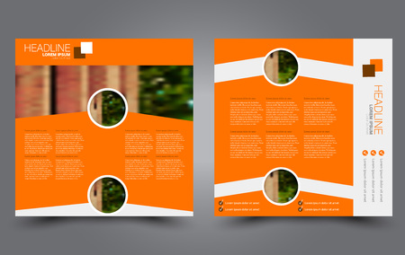 Square flyer template. Brochure or anual report cover design. For business and education. Vector illustration. Orange color.