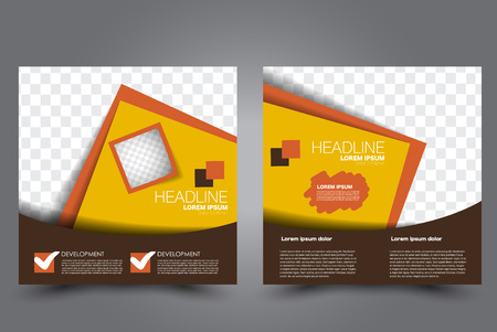 Square flyer template. Brochure design. Annual report poster. Leaflet cover. For business and education. Vector illustration. Orange and brown color.