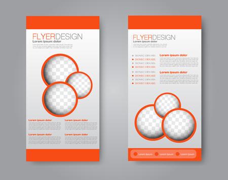 Skinny flyer or leaflet design. Set of two side brochure template or banner.  Vector illustration. 向量圖像