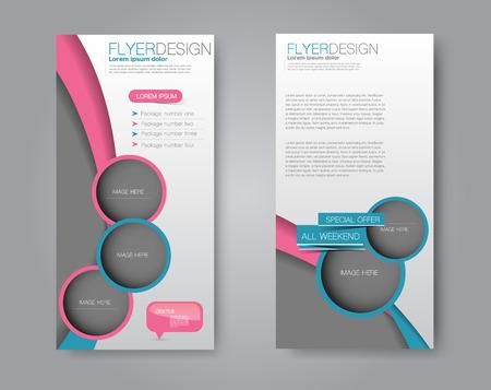 Skinny flyer or leaflet design. Set of two side brochure template or banner.  Vector illustration. Pink and blue color. Vettoriali