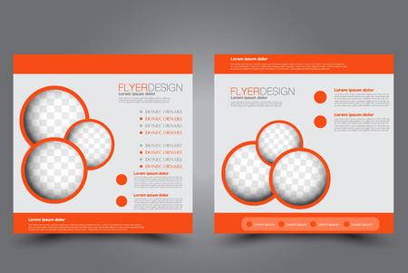 Square flyer template. Brochure design. Annual report poster. Leaflet cover. For business and education. Vector illustration. Orange color. Illustration