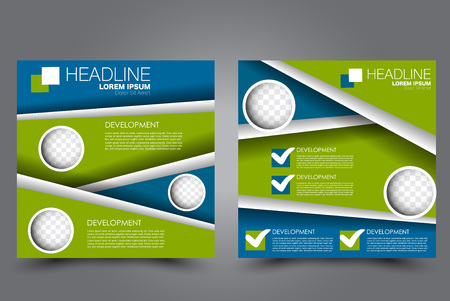Square flyer template. Brochure or anual report cover design. For business and education. Vector illustration. Blue and green color.