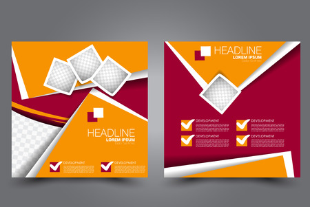 Square flyer template. Brochure design. Annual report poster. Leaflet cover. For business and education. Vector illustration. Red and orange color.