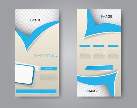 Skinny flyer or leaflet design. Set of two side brochure template or banner. Blue color. Vector illustration. 向量圖像