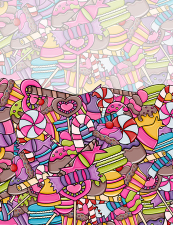 Candy and sweets cartoon doodle design. Cute background concept for advertisement, banner, flyer, brochure or greeting card. Hand drawn vector illustration.