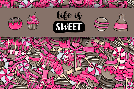 Candy and sweets cartoon doodle design. Cute background concept for advertisement, banner, flyer, brochure or greeting card. Hand drawn vector illustration. Pink and brown color. Ilustracja