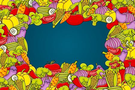 Diseño de doodle de dibujos animados de verduras. Concepto de fondo lindo para la tarjeta de felicitación, anuncio, bandera, folleto, folleto. Ilustración de vector dibujado a mano.