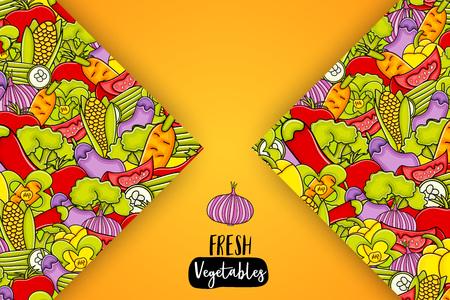 Vegetables cartoon doodle design. Cute background concept for greeting card, advertisement, banner, brochure. Hand drawn vector illustration.