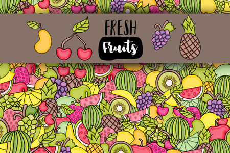 Fruits cartoon doodle design. Cute background concept for greeting card,  advertisement, banner, flyer, brochure. Hand drawn vector illustration.  Illustration