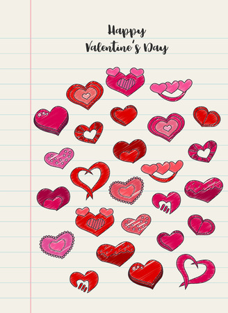 Hand drawn hearts on a notebook lined piece of paper. Valentines day vector illustration for a love card or invitation. Illustration